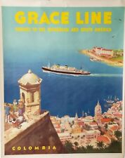 1950s Grace Line Travel Agency Poster by Carl Evers - NAUTIQUES sHiPs WORLDWIDE