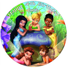 "Tinkerbell And Friends Personalised Cake Topper 7.5"" Edible Wafer Paper"