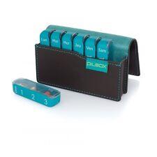Pilulier hebdomadaire pilbox mini chocolat/turquoise