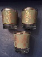 3 -Vintage Mid Century Green & Gold Harp Lyre Low Ball Shot Glasses MCM Jeanette