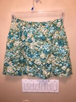Ann Taylor Womens Size 2 Blue Green Floral Skirt Lined Above Knee Spring