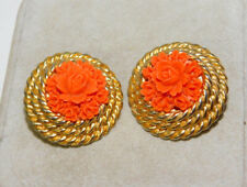 Vtg Faux Carved Coral Rose Flower Gold Clip Button Doorknocker  Earrings 8d 19