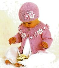 "Baby/toddler flower embellished cardigan and hat knitting pattern 16""-22"" DK1008"