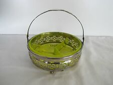 "YELLOW VASELINE URANIUM GLASS 3 PART 5' x '5.5"" RELISH DISH w/PLATED CARRIER"