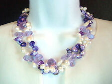 Pearl Crystal Layer Necklace Honora? Beautiful Cultured White Lavendar Purple