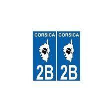 2B Corse autocollant plaque Corsica droits