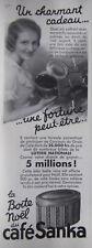 PUBLICITÉ DE PRESSE 1933 CAFÉ SANKA LA BOITE NOËL - ADVERTISING