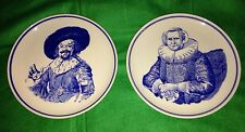 2 VINTAGE DELFT BLAUW ROYAL G Handpainted Plates