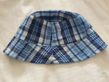 M&Co Kids Blue Checked Summer Sun Hat - Shell 100% Cotton - Small 2-4 Years-