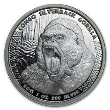 2015 Republic Of Congo 1 oz. .999 Silver Proof-Like Strike SilverBack Gorilla