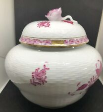 Herend Bonbonniere Raspberry Chinese Bouquet Porcelain Jar Preowned