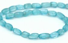 HALF STRAND LIGHT BLUE / GREEN APATITE RICE SHAPED BEADS, 6 X 4 MM, GEMSTONE