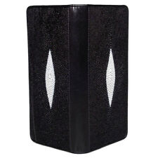 Genuine Stingray Skin Leather Men Women Bifold Clutch Long Wallet 2P2M Black