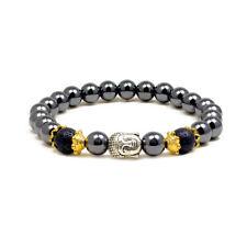 "Accents Kingdom Magnetic Hematite Lava Rock Bead Buddha Energy Bracelet 7.5"""
