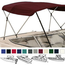 "BIMINI TOP BOAT COVER BURGUNDY 3 BOW 72""L 46""H 85""-90""W - W/ BOOT & REAR POLES"