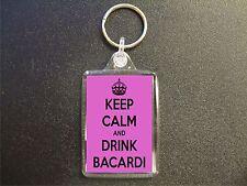 KEEP CALM AND DRINK BACARDI PINK KEYRING GIFT BAG TAG BIRTHDAY GIFT