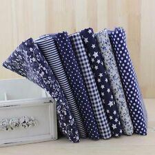"""7 Assorted Precut Cotton Fabric Quilt 19.7""""x19.7"""" Fat Quarter Bundle Blue Series"""