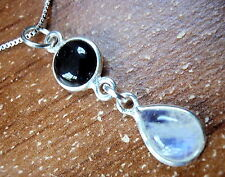 Small Rainbow Moonstone and Black Onyx Necklace 925 Sterling Silver Teardrop New