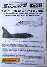 Xtradecal 1/72 X72096 EE/BAC Lightning Complete Stencil Data decal set