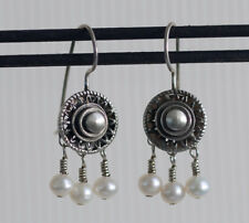 OOP NEW Silver & Pearl Earrings by Allison Stern ~ Vintage 1996 ~ French Wire