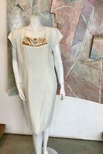 VINTAGE Jack Bryan Sequined White Gold Knee-Length Dress 1980s 80s R SZ 14