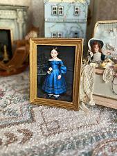 Vintage Artisan Miniature Dollhouse Girl Custom Framed Print Gilt Wood Wall Art