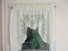 Ivory Lace Swag Valances Pair of 2 Romantic Cottage Shabby Chic