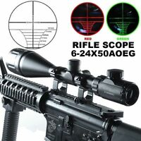 6-24x50 AOE Red Green Mil-Dot Illuminated Optics Hunting Rifle Scope W/Rings