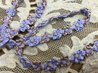 """VINTAGE FRENCH ROCOCO SATIN TRIM 1yd 3/8"""" FLORETTES Periwinkle & Olde Rose"""