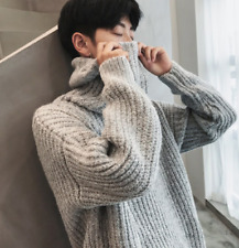 Fashion Mens High Neck Knitted Sweaters Loose Warm Pullover Coat Blouses Tops