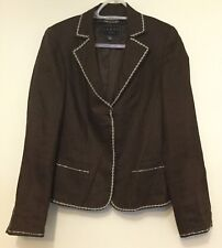 Ladies COAST brown Linen Jacket with contrasting stitching trim Size 12 UK