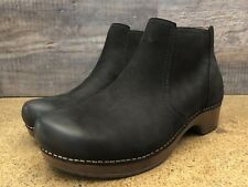 DANSKO Women's Barbara Burnished Nubuck Black Leather Boots Size 40 (9.5-10)
