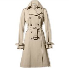 Theory Small Khaki Double Breasted Trench Coat Adyna Cotton Stretch Belted