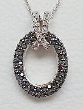".25 Ct Black & White Diamond 14K White Gold Oval & Ribbon Necklace New 18"""