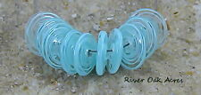 ROA Lampwork 10 Filigree Sky Blue Set Handmade Disc Glass Artistic Beads SRA