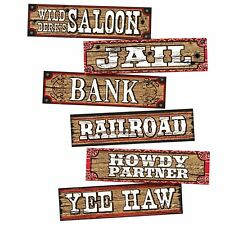 WAY OUT WEST - 4 pc WESTERN SIGNS Party Saloon Wall Decoration     1-2B