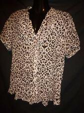 Animal Print Button Down Shirt Machine Washable Plus Size Tops & Blouses for Women
