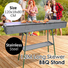 1.2M Stainless Steel Long Skewer BBQ Barbeque Barbecue Stand Outdoor Grill Roast