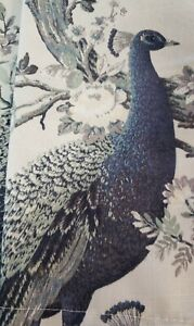 Laura Ashley Belvedere Peacock Two Panel Blue/Green Pair 38x96 Curtains Drapes
