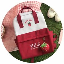 Kawaii Red Strawberry Canvas MIlk Box Student School Bag Backpack Sweet Girls