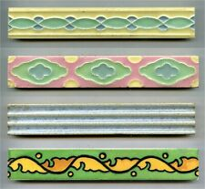4 Art Deco border tiles by H&G Thynne, 1950s
