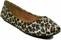 Womens Ballet Flat Comfort Classic Slip On Ballerina Shoes Leopard Size 12 NEW