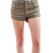 Wildfox Women's New Michelle Shorts Catbird Denim Zip Fly Khaki BCF62
