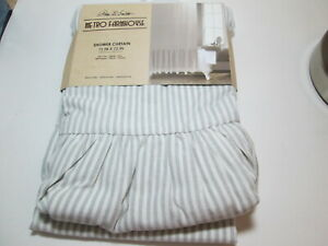 Park. B Smith Metro Farmhouse Fabric Shower Curtain Gray and White Ruffle Stripe