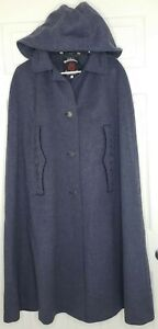 Wolfstaedter Loden Coat Cape 38 Embroidered Austria Wool Vintage Hooded