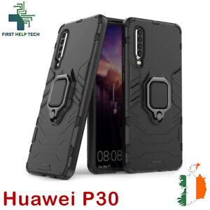 For Huawei P30 Cover Hybrid Case Rugged Shockproof Magnet Ring Holder Stand