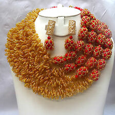 Latest Design Style Gold Red African Beads Bridal Wedding Party Jewelry Set