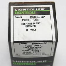 120VAC 600W LOT//5** LIGHTOLIER DAWN D600-PP 1 POLE SWITCH PUSH-PUSH DIMMER