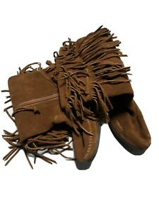 Minnetonka Sz 10 Brown Suede Moccasin Boots NWOT Rubber Sole Womens Fringe
