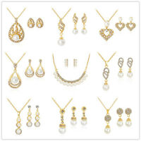 Fashion Women Crystal Pearl Gold Plated Classic African Wedding Jewelry Set